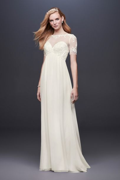 Chiffon Wedding Dress with Illusion Lace Sleeves | David's Bridal