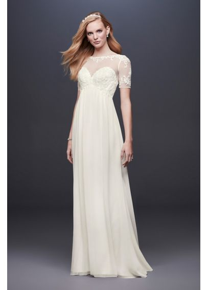 Chiffon Wedding Dress with Illusion Lace Sleeves WG3749