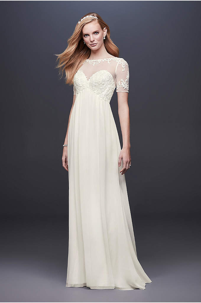 Chiffon Wedding Dress with Illusion Lace Sleeves - Make heads turn on your wedding day with