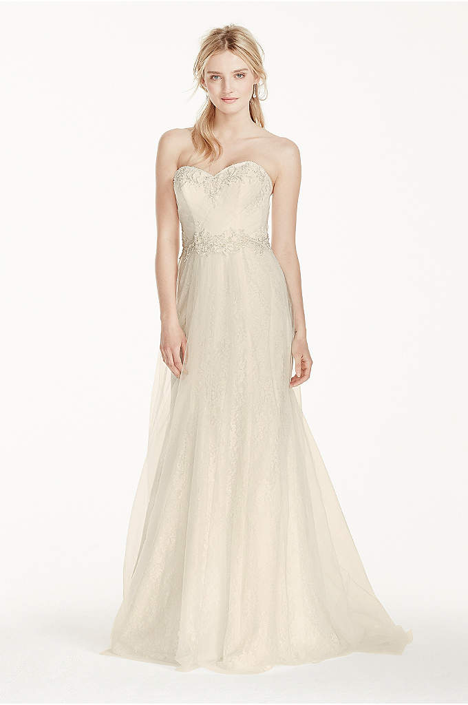 Strapless Tulle Over Lace Sheath Wedding Dress - This gorgeous tulle-over-lace sheath gown will make a