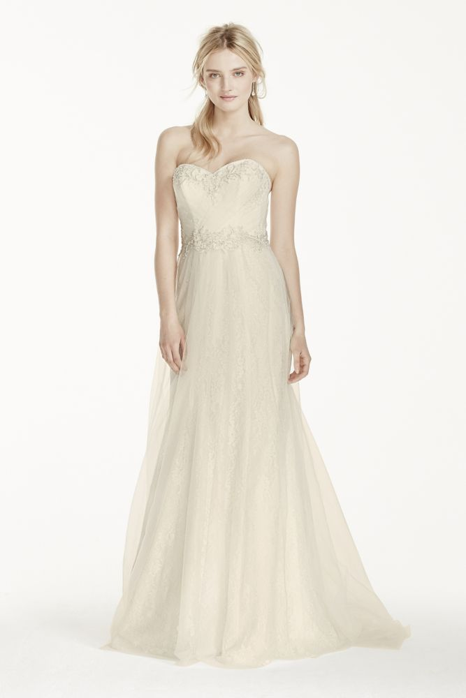 David 39 s bridal strapless tulle over lace sheath wedding for David s bridal strapless wedding dress