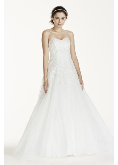 Jewel Tulle Wedding Dress with Lace Applique WG3751