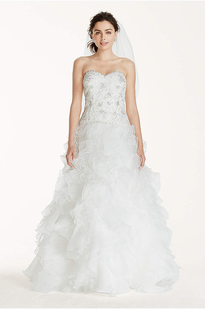 Jewel Organza Wedding Dress with Ruffled Skirt - The sweetheart neckline is such a wonderfully apropos