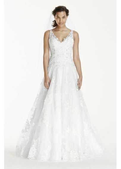 Jewel Tank Tulle Wedding Dress with Lace Applique WG3753