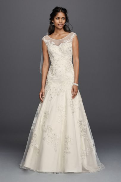 Jewel Tulle Aline Wedding Dress with Lace Applique | David's Bridal