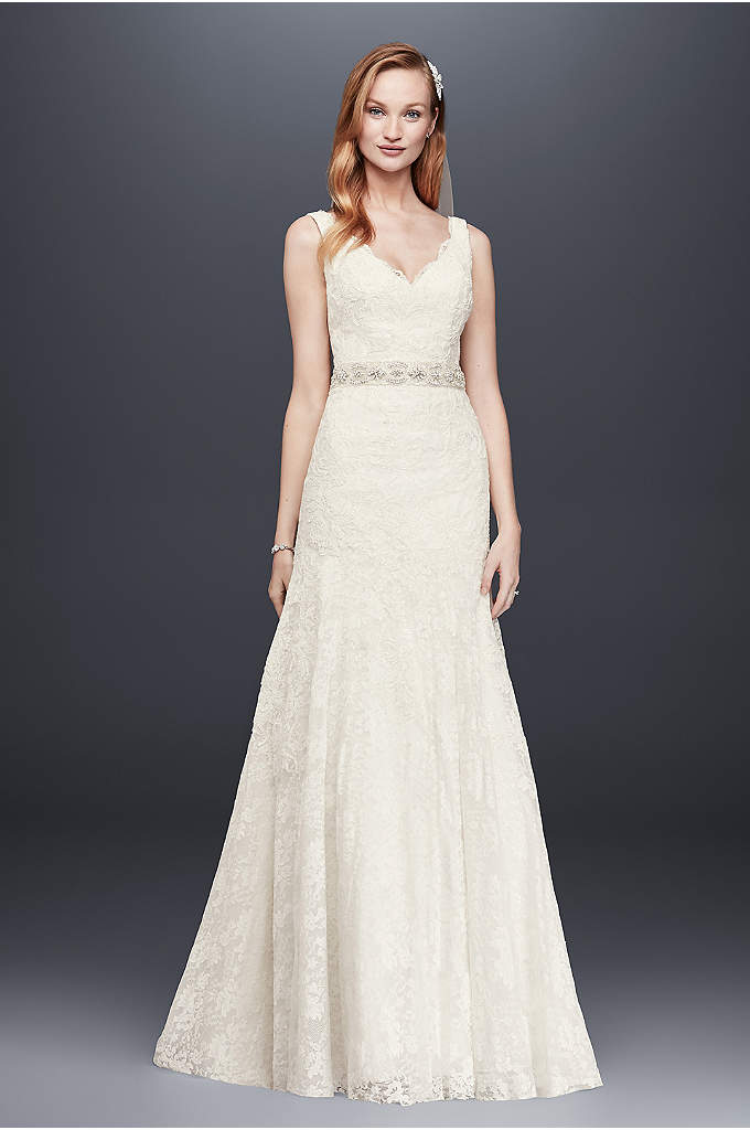 Jewel Lace Wedding Dress with Scalloped V-Neck - This elegant lace trumpet gown is truly lovely.