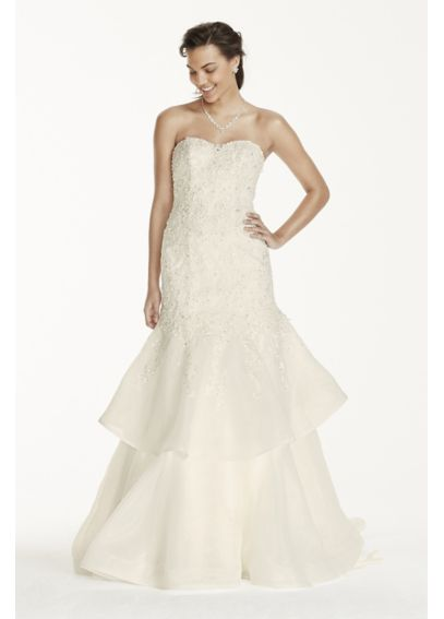 Jewel Organza Trumpet Wedding Dress with Lace  WG3760