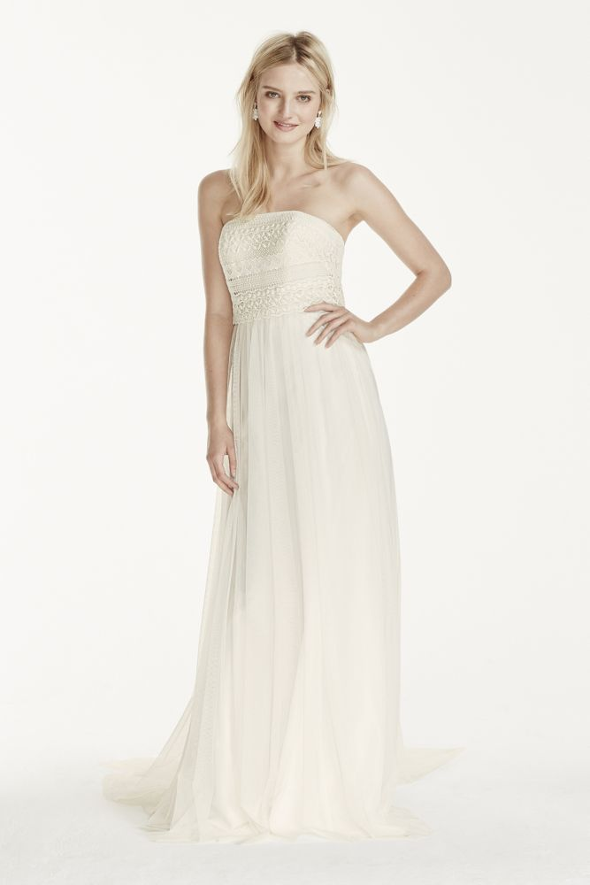 Strapless tulle sheath wedding dress with lace bodice for Wedding dresses not strapless