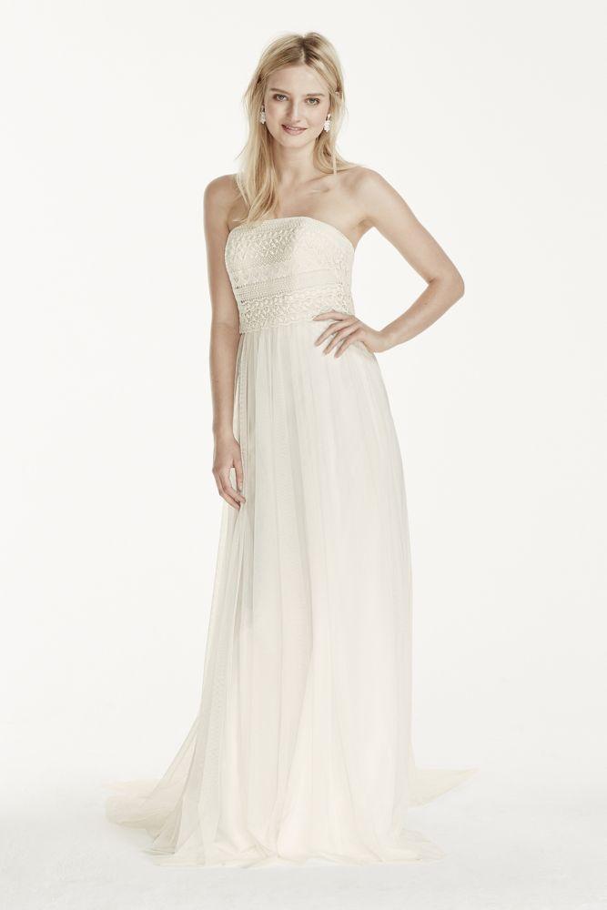 Strapless tulle sheath wedding dress with lace bodice for Sheath style wedding dress