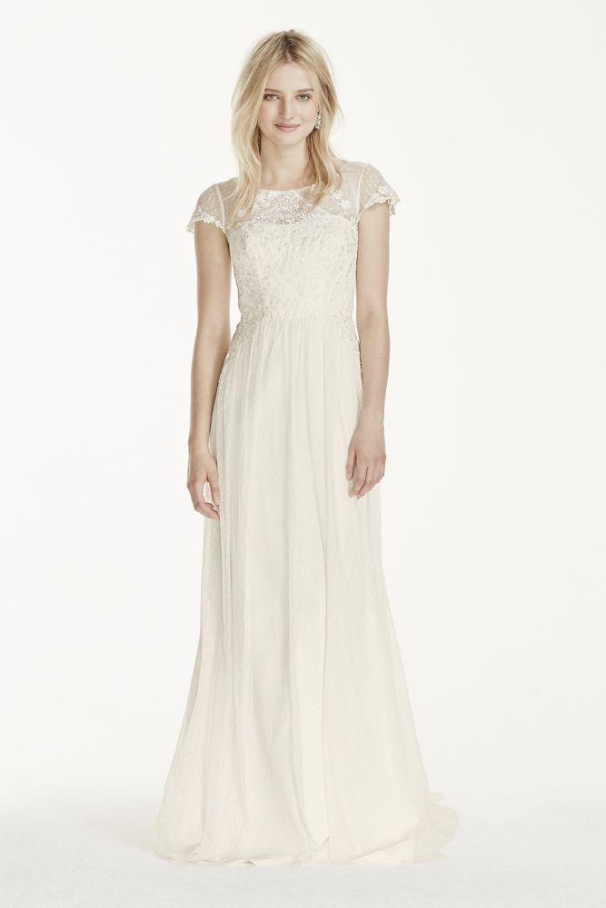 Galina wedding dress cap sleeve tulle sheath with lace for Adding cap sleeves to a wedding dress