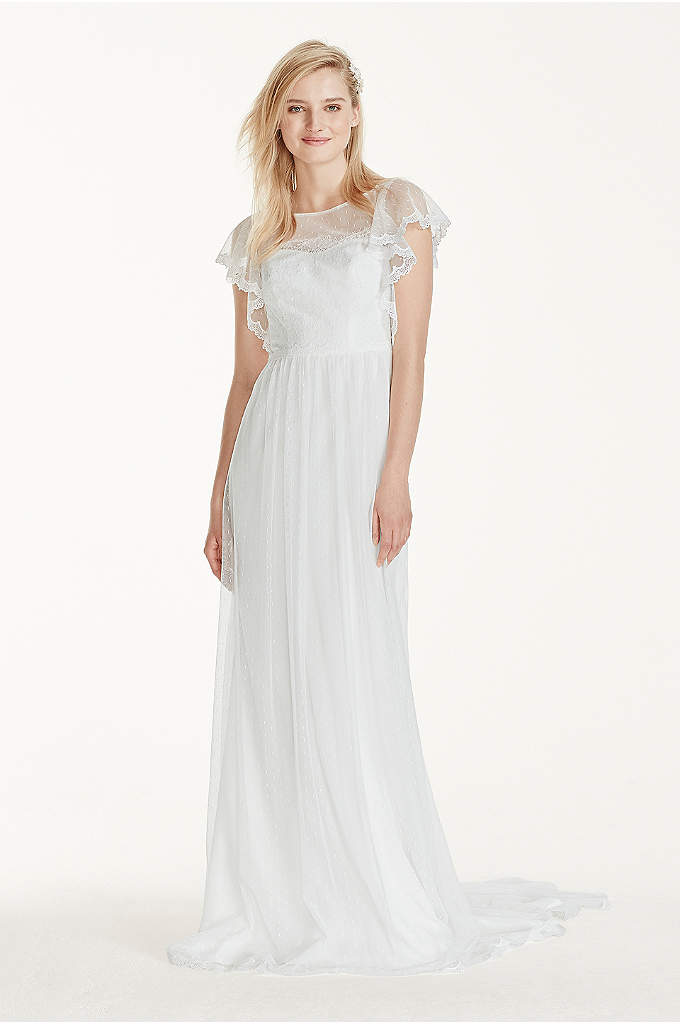 Flutter Sleeve Dot Mesh Sheath with Lace Trim - A sophisticated modern take on a traditional wedding