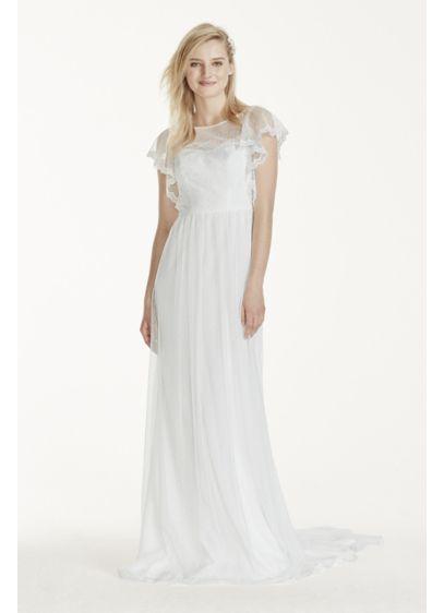 Flutter Sleeve Dot Mesh Sheath With Lace Trim Davids Bridal - Flutter Sleeve Wedding Dress