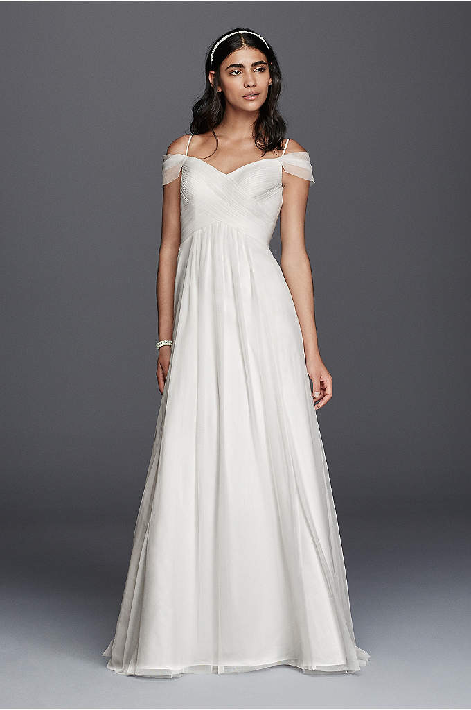 Tulle A-line Wedding Dress with Swag Sleeves - Elegant and easy to wear, this tulle A-line