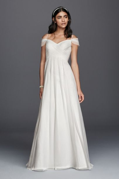 Tulle A Line Wedding Dress With Swag Sleeves David S Bridal