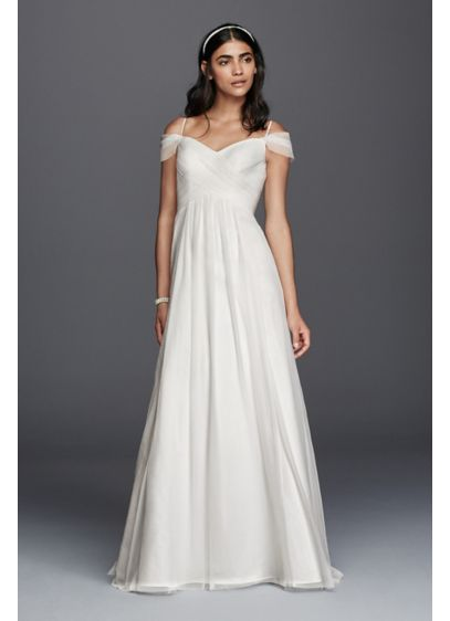 Tulle A Line Wedding Dress With Swag Sleeves Davids Bridal
