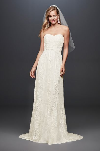 Galina Strapless Linear Lace Sheath Wedding Dress | David's Bridal