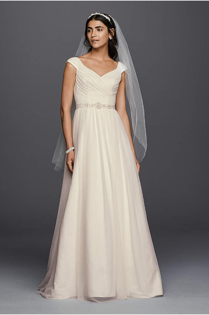 Tulle A-line Wedding Dress with Beaded Sash - This A-line wedding dress with a V-neckline and