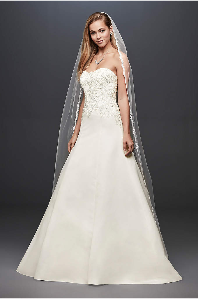 Satin Strapless A-line Wedding Dress with Beading - Beautiful detailing meets an ultra-flattering silhouette in this