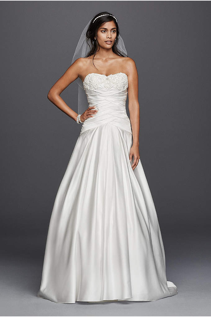 Satin Beaded Lace Applique A-Line Wedding Dress - Lustrous satin sets the stage for a glamorous