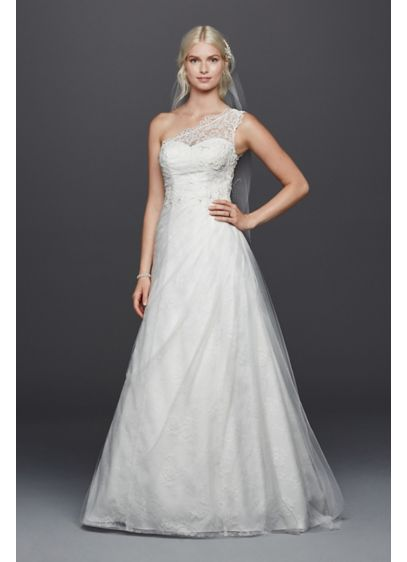 One shoulder tulle a line with lace wedding dress davids for Over the shoulder wedding dress