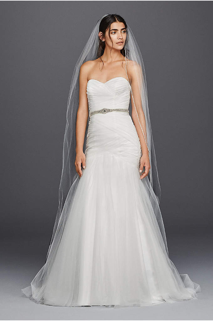 Strapless Ruched Mermaid Tulle Wedding Dress - From the sweetheart neckline to the ethereal tulle