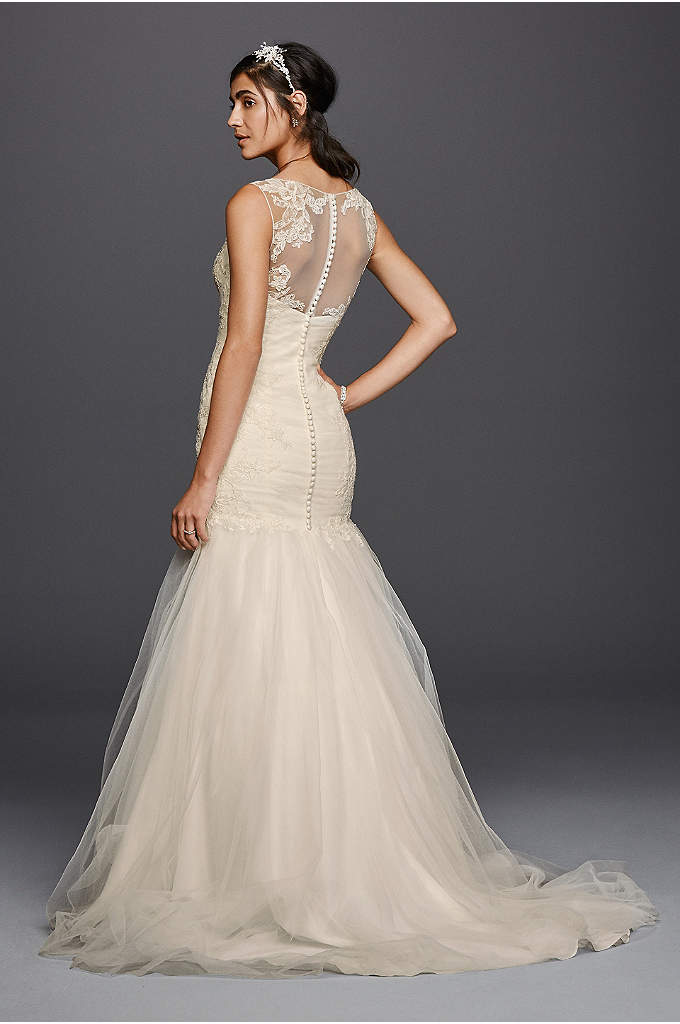 Tulle Trumpet with Illusion Back Wedding Dress - This tulle trumpet wedding dress is incredibly flattering,