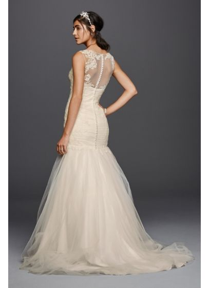 Tulle trumpet with illusion back wedding dress david 39 s for Wedding dress illusion back