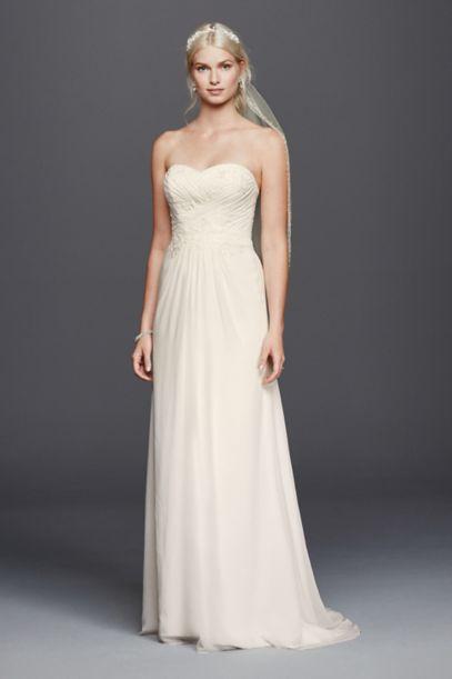 Chiffon Lace Sweetheart Wedding Dress - Davids Bridal