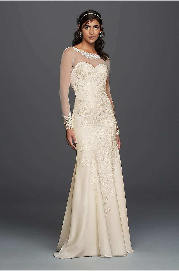 Long Sleeved Chiffon Wedding Dress