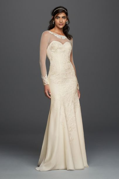 Long Sleeved Chiffon Wedding Dress | David's Bridal