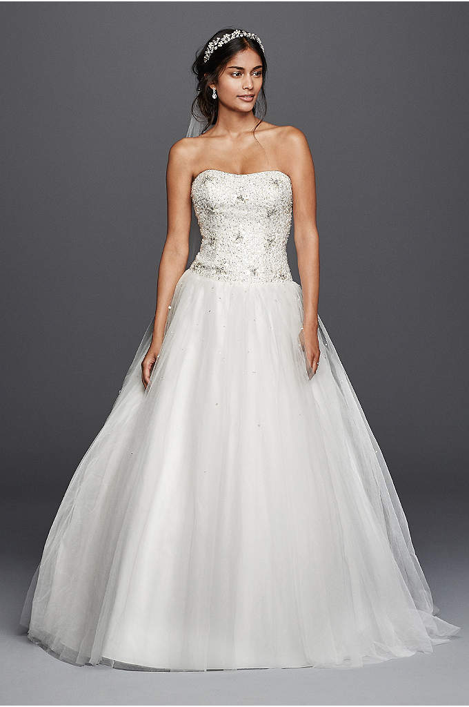 Jewel Beaded Tulle Ball Gown Wedding Dress - Celebrate your happily ever after in this enchanting