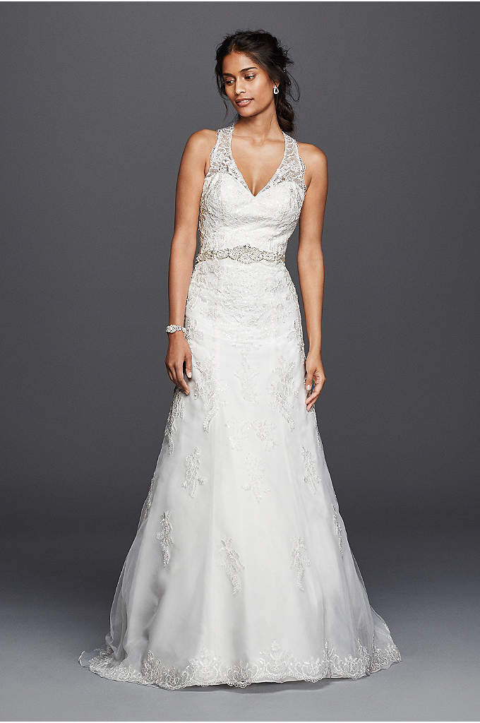 Jewel Lace Wedding Dress with Halter Neckline - Striking details make this classic tulle A-line wedding