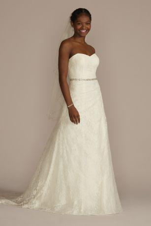 Allover Lace ALine Strapless Wedding Dress Davids Bridal