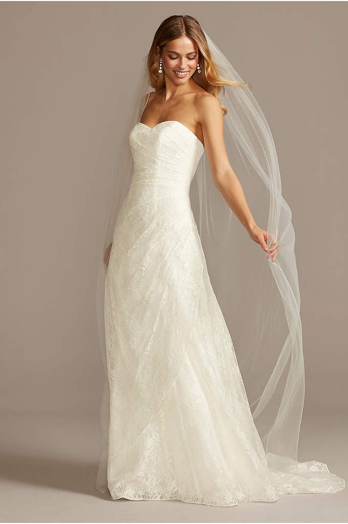 Allover Lace A-Line Strapless Wedding Dress - This A-line wedding dress embodies effortless classic elegance