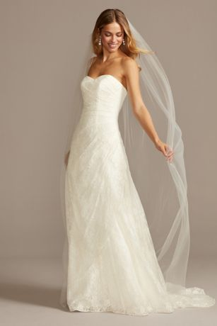 A line lace wedding dress with side split detail davids for Davids bridal beach wedding dresses