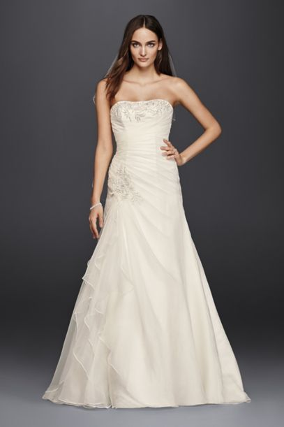 A-Line Wedding Dress with Appliques and Ruching | David's Bridal
