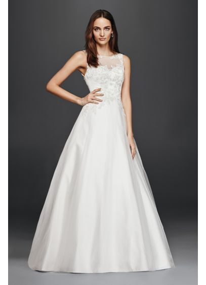 A line wedding dress with illusion lace neckline davids for How to start a wedding dress shop