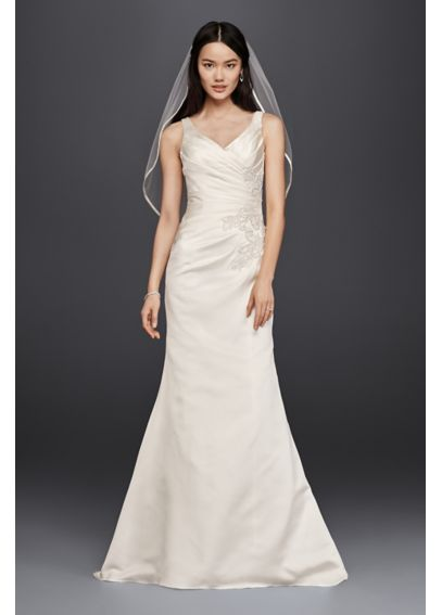 V-Neck Trumpet Wedding Dress with Pleated Bodice WG3809