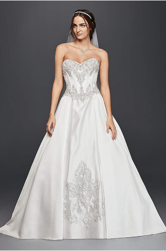 Satin Corset Ball Gown Wedding Dress - Everything you need for a fairy tale day:
