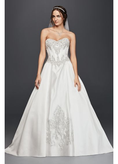 Satin Corset Ball Gown Wedding Dress - Davids Bridal