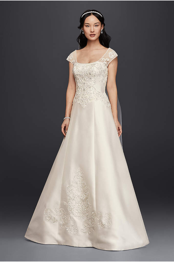 Satin Cap Sleeve Wedding Dress - The oversize appliques that grace the A-line bodice