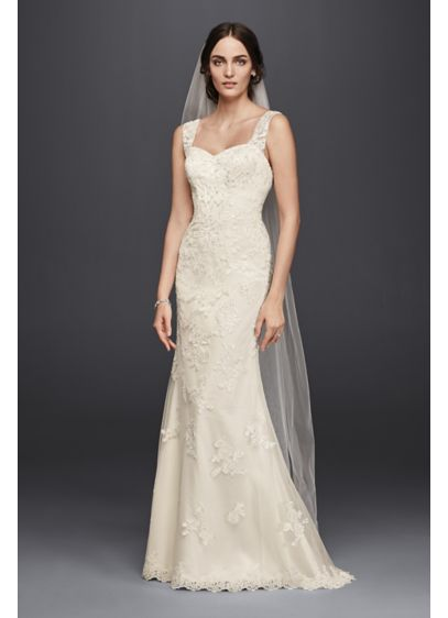 Long Sheath Romantic Wedding Dress - Jewel