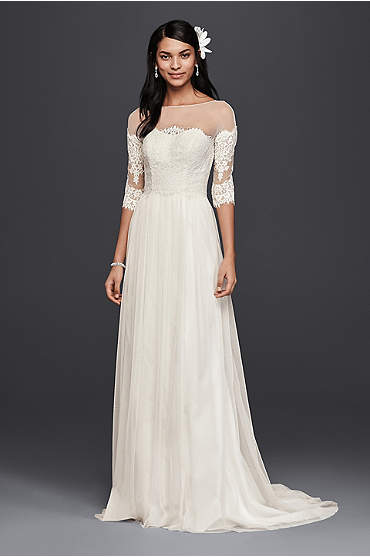 Galina Wedding Dress with Lace Sleeves