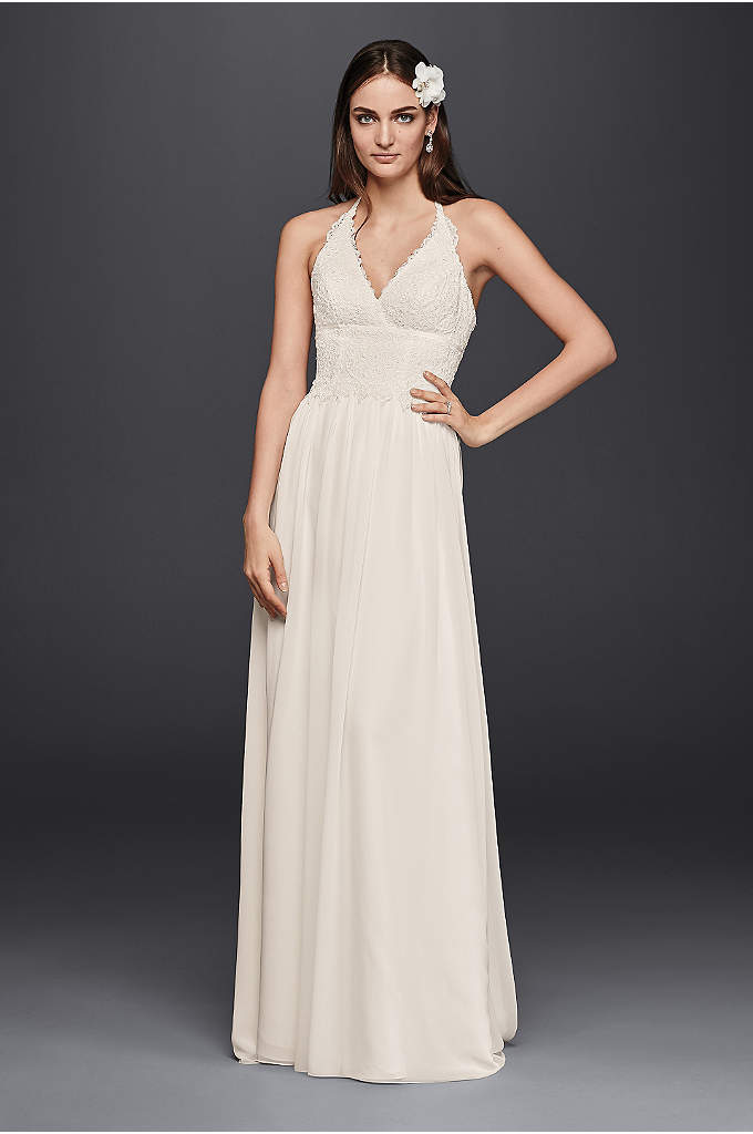 Lace Halter Wedding Dress - Delicate Venise lace trims the deep V-neckline on