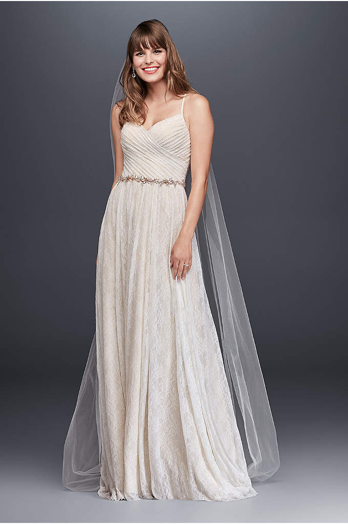 Soft Lace Wedding Dress with Pleated Bodice - A simple, airy lace wedding dress, beautifully pleated