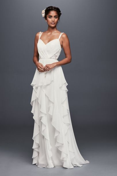 Ruffled Chiffon Wedding Dress with Lace Back | David's Bridal