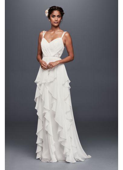 Ruffled chiffon wedding dress with lace back davids bridal long sheath beach wedding dress galina junglespirit Images
