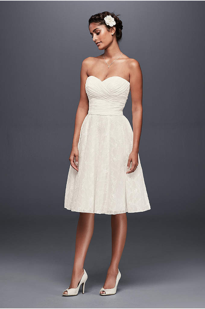 Strapless Lace Short Wedding Dress - A short and sweet lace wedding dress, beautifully