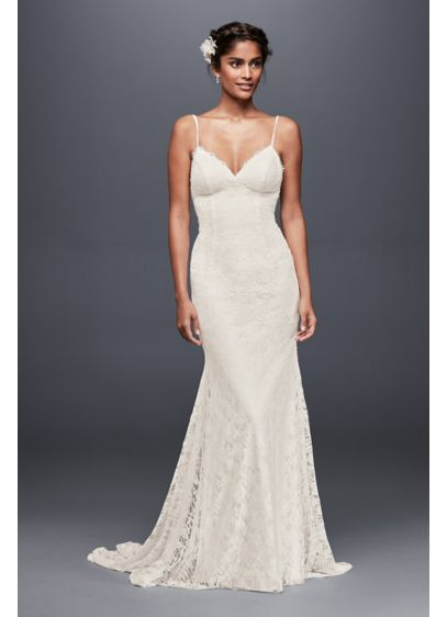 Soft lace wedding dress with low back davids bridal for Davids bridal beach wedding dresses