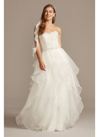 Lace and organza wedding ball gown with beading david 39 s for Lace wedding dress davids bridal